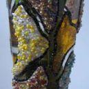 Vaza, lepljive barve za steklo, perlice, bleščice