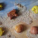 in slika - odlitki, karton, tempera, pesek in školjke.