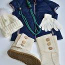 rokavice, kapa pravi cof, ogrica les, cena za kos 4€, kapa in ogrlica rez.