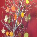 buče in jesensko listje iz blaga- hrast, bukev, kostanj, javor, lipa