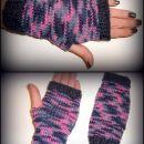 Melirane pletene rokavičke brez prstkov