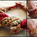 Kvačkana zapestnica jesenskih barv s pluto