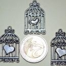 srebrni obesek ptičja kletka - 2 eur/3 kom