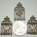 zlati obesek ptičja kletka - 2 eur/3 kom