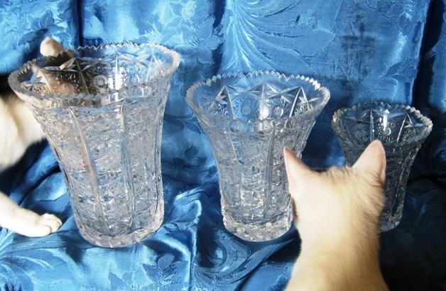 95a-e. Vaze iz brušenega kristala, Rogaška, IC: A = 15 eur, B = 12 eur, C,D,E = 10 eur