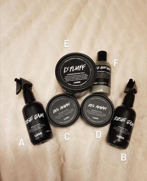 333. Izdelki LUSH za telo, britje in deodorant  ICa,be = 10 eur, c,d = 3 eur, f = 6 eur