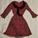 113a. Rdeča obleka Fracomina  S-M, do kolen   IC = 10 eur