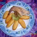 krompirjevi svaljki , pečen zajec