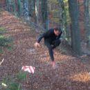skok preko zaprte gozdarske poti v smeri Čaše