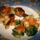 pečen mlad krompir, grajska mešanica, piščanec