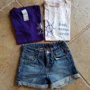 HM jeans kratke hlače št. 110 ali 4-5 let + 2 majici