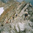 Vstop iz ledenika na zelo znan greben Hochalma (greben je zelo 'nažagan', priporočljiv sam